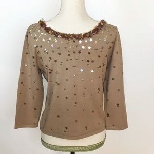 Talbots Tan Brown Sequined Silk Blend Knit Top
